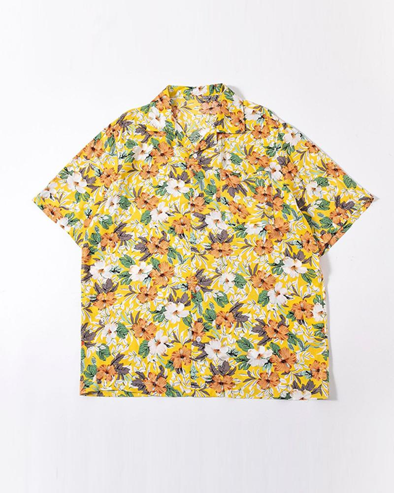 Floral Print Short Sleeve Button-up Shirts