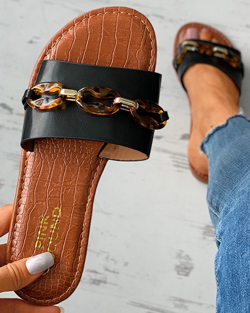 Turtle Pattern Open Toe Flat Sandals thumbnail