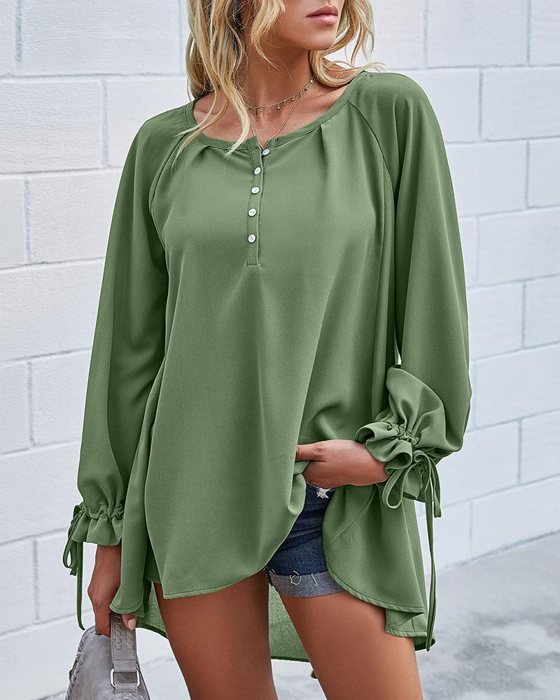 Solid Buttoned Ruffles Casual Top thumbnail