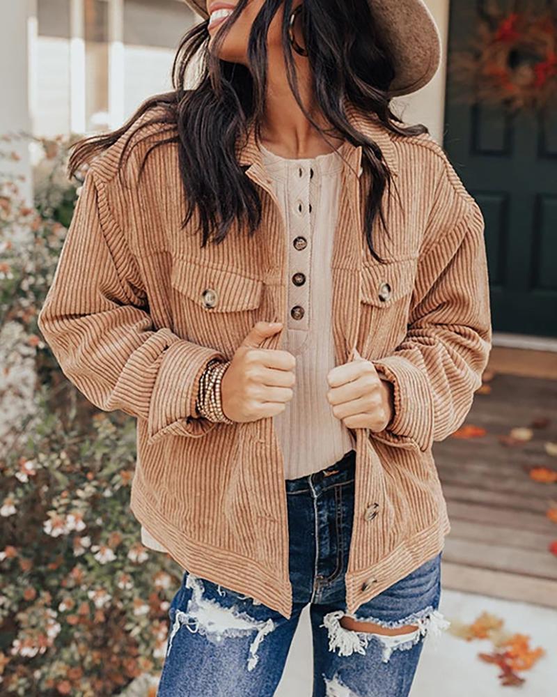 Corduroy Pocket Design Long Sleeve Jacket, Brown