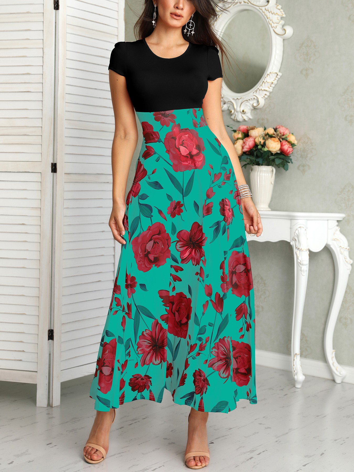 boutiquefeel / Short Sleeve Floral Print Maxi Dress