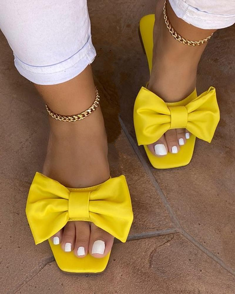 Square Toe Bowknot Design Solid Flat Sandals thumbnail