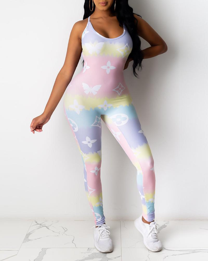 Mixed Tie Dye Print Crisscross Backless Jumpsuit thumbnail