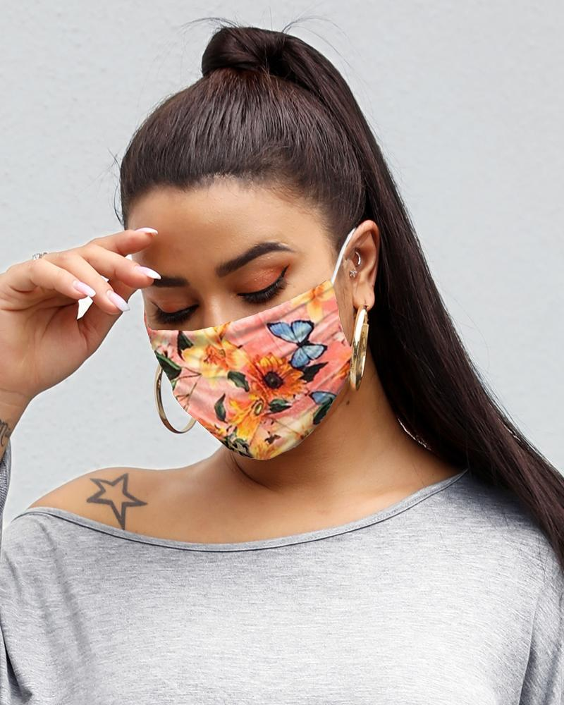 Floral Butterfly Print Breathable Mouth M .a. s. k Washable And Reusable thumbnail
