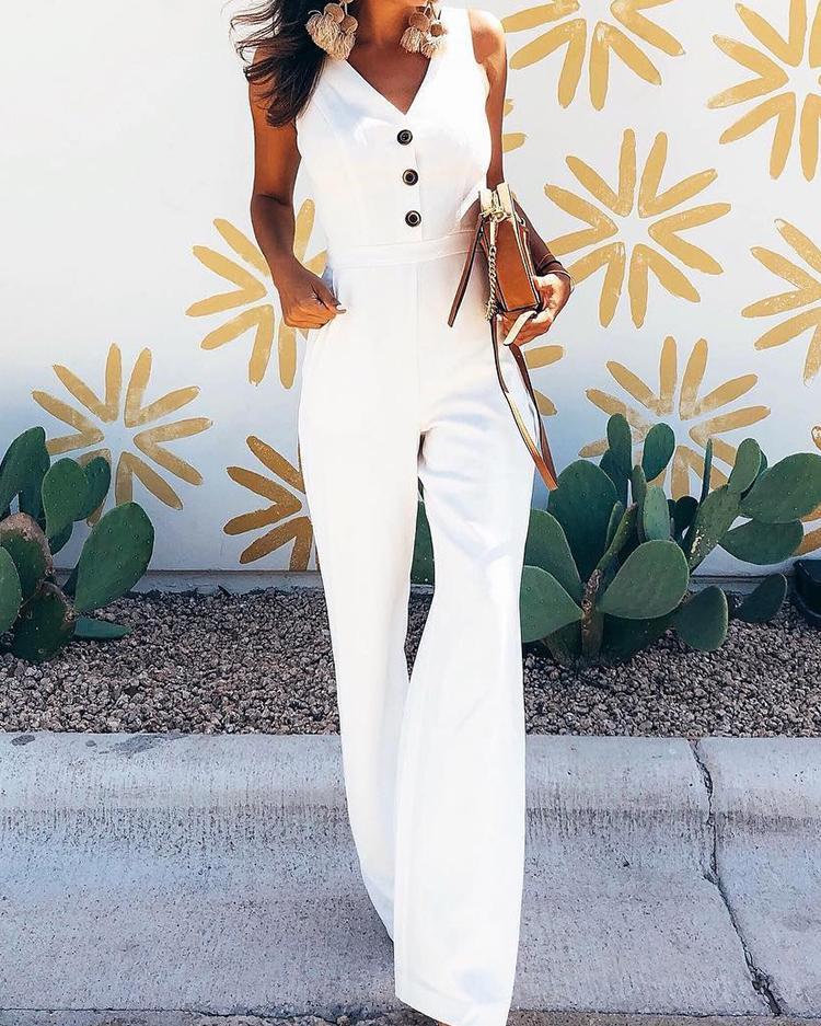 c1e246744aa Button Detail Cutout Back Wide Leg Jumpsuit Online. Discover hottest trend  fashion at chicme.com