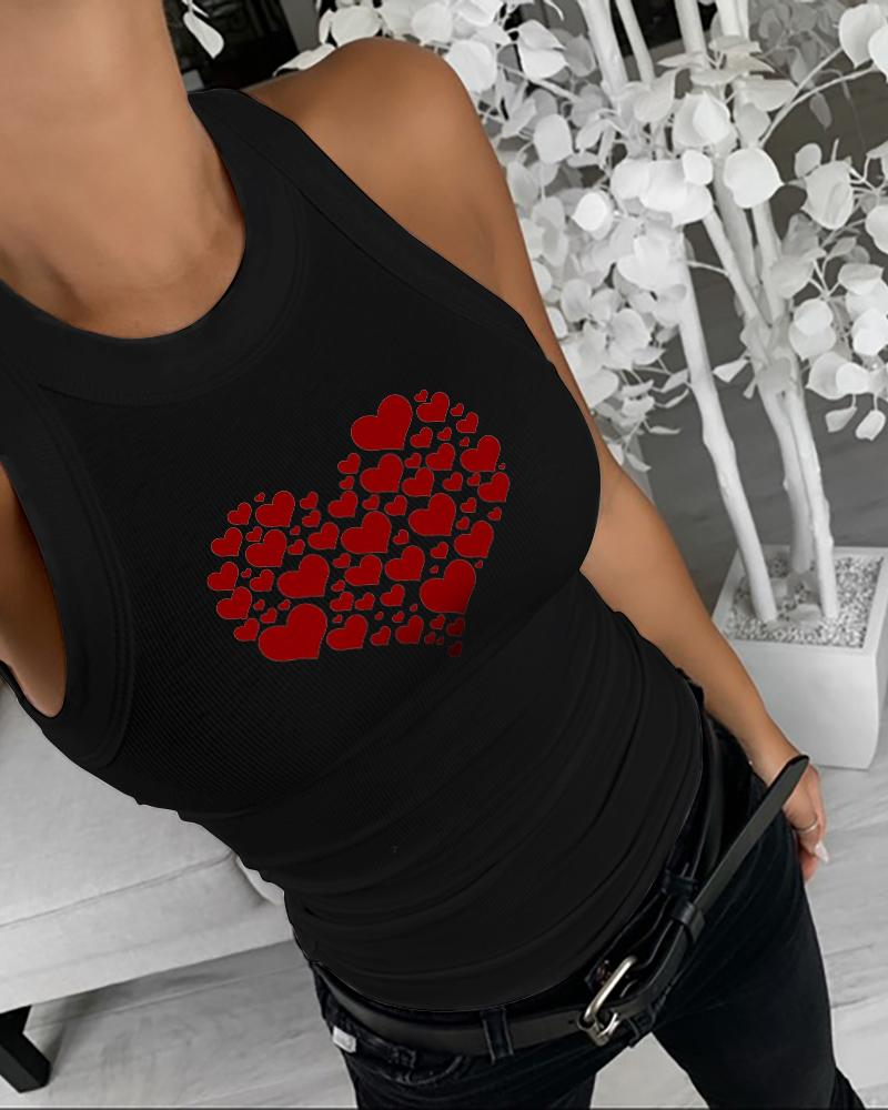 Heart Print Sleeveless Casual Tank