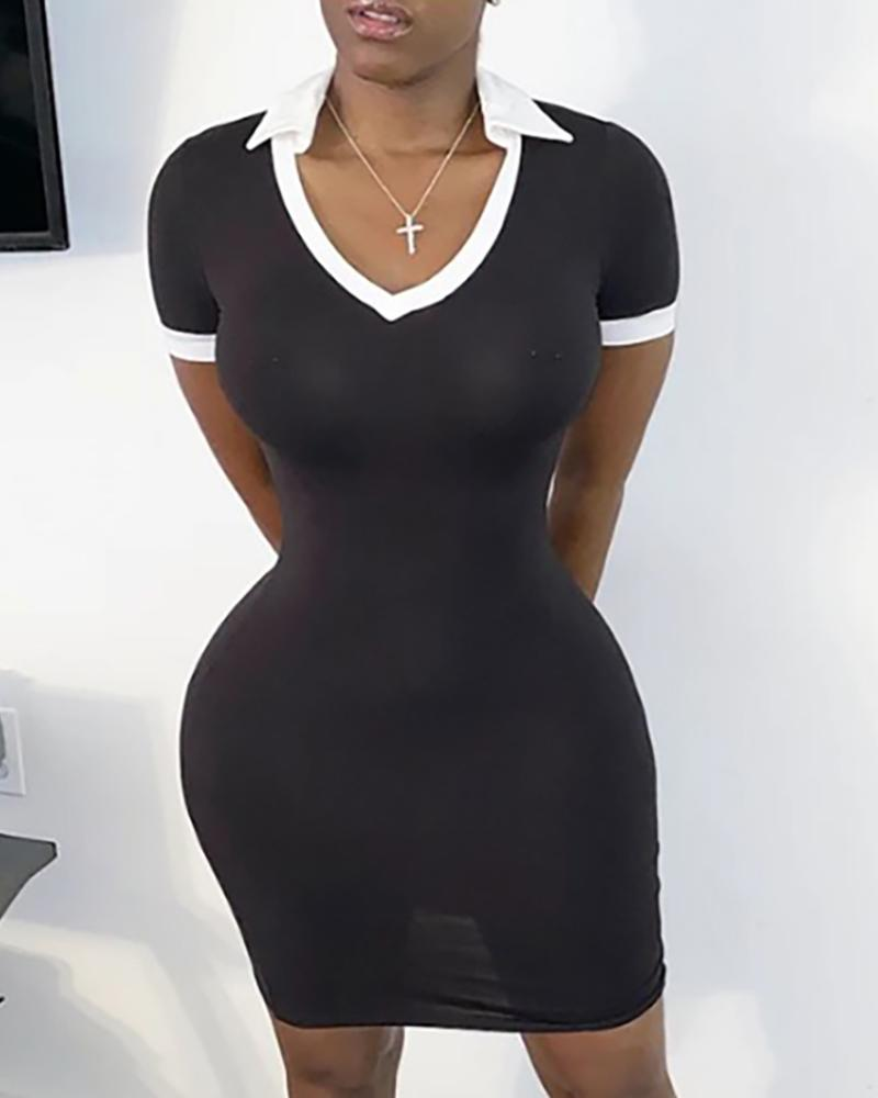 Contrast Binding Colorblock Bodycon Dress thumbnail