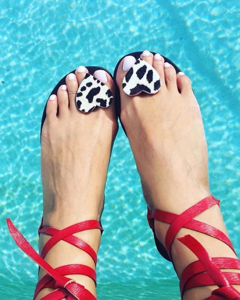 Heart Embellished Boho Sandals thumbnail