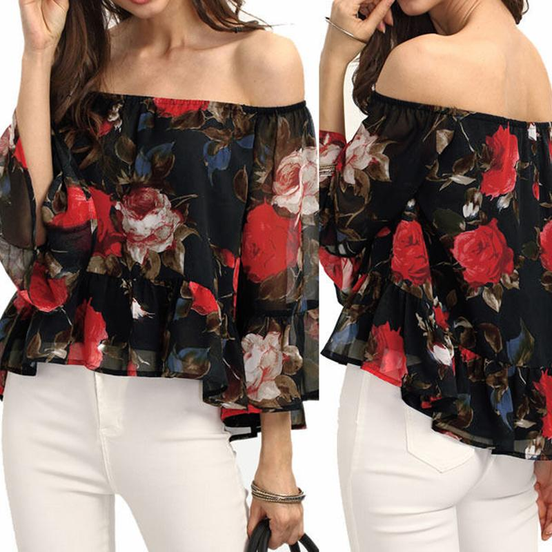 Women Sexy Lace Floral Patchwork Chiffon Shirt  Long Sleeve Off Shoulder Ruffle Blouse Tops