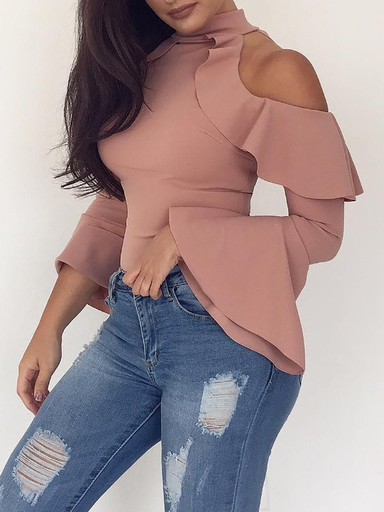 Fashion Ruffled Cold Shoulder Bell Sleeve Casual Top