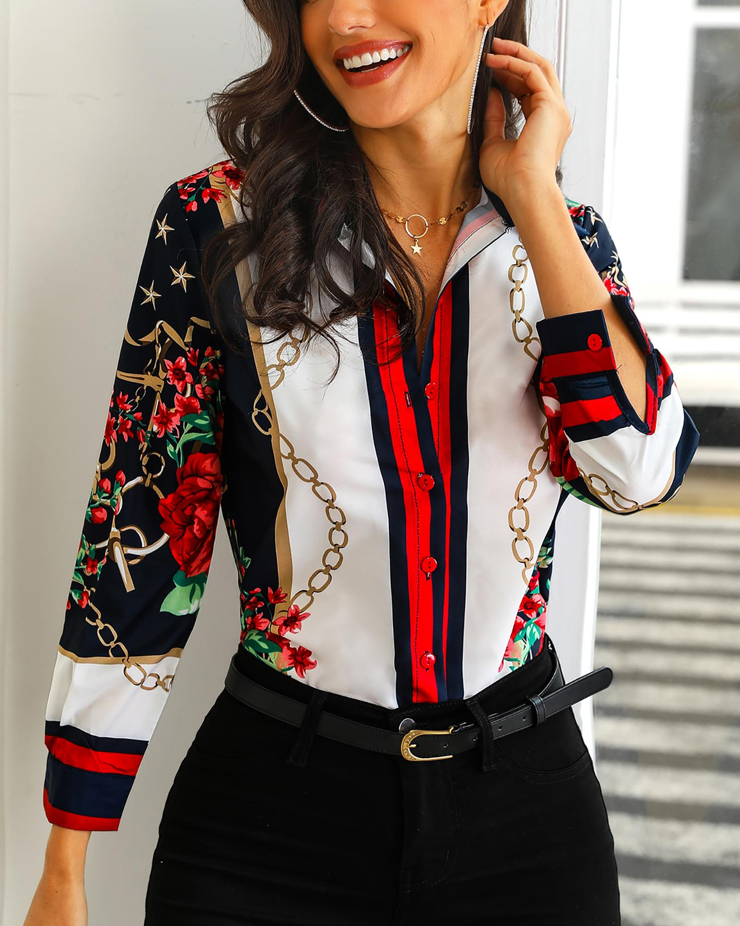 Floral & Chains Print Casual Blouse