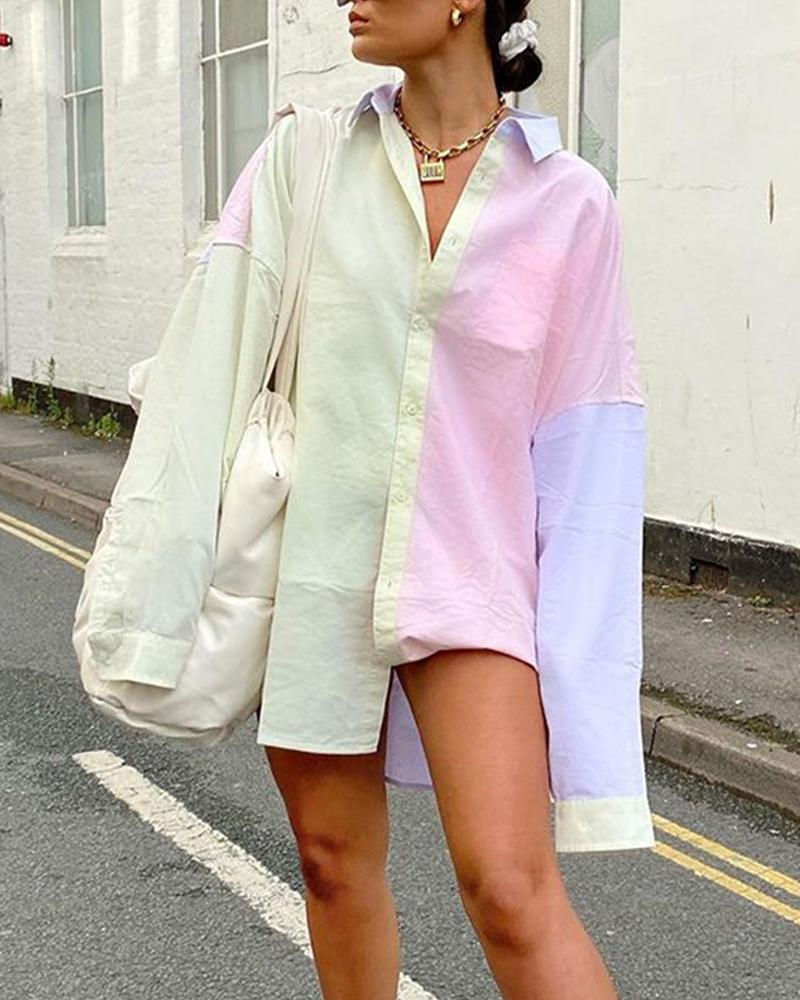 Tide Colorblock Oversized Shirt Dress thumbnail