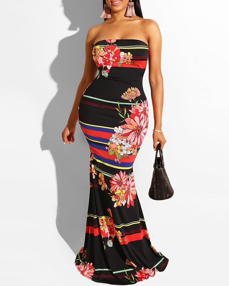 Off Shoulder Colorblock Floral Print Maxi Dress