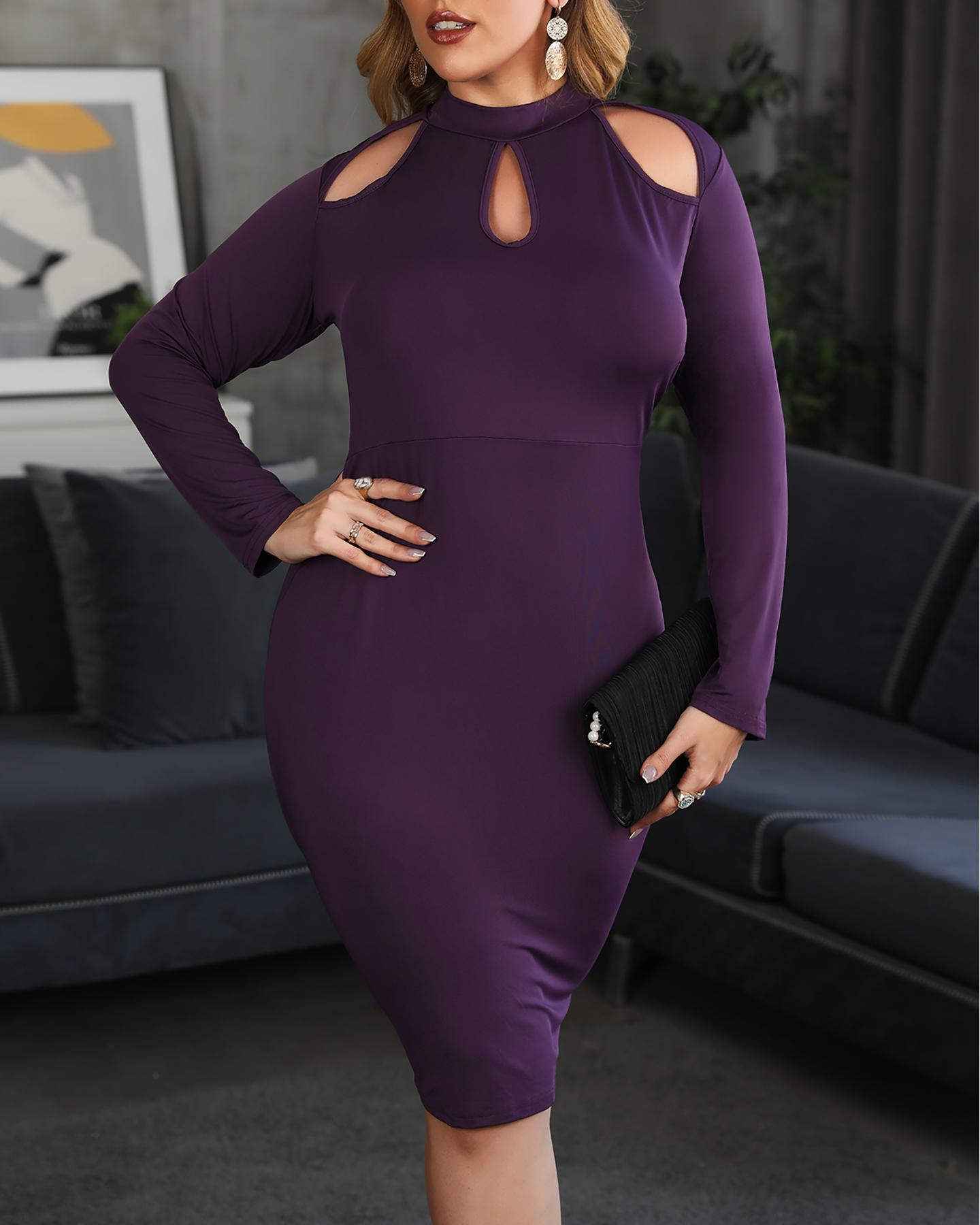 Plus Size Plain Cold Shoulder Cutout Midi Dress, Purple