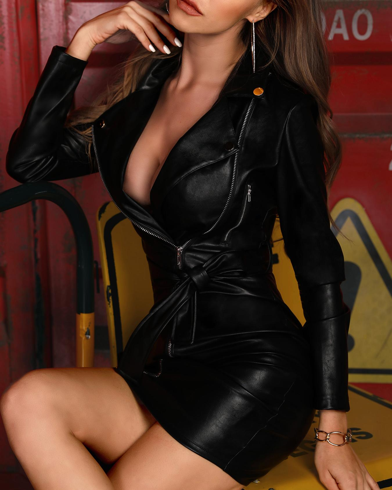 Zipper Design Belted PU Dress