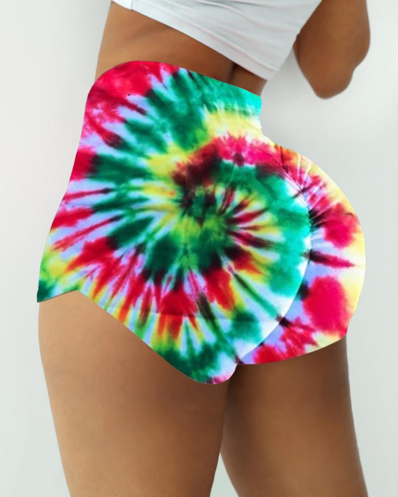 High Waist Tie Dye Print Ruched Sporty Shorts thumbnail