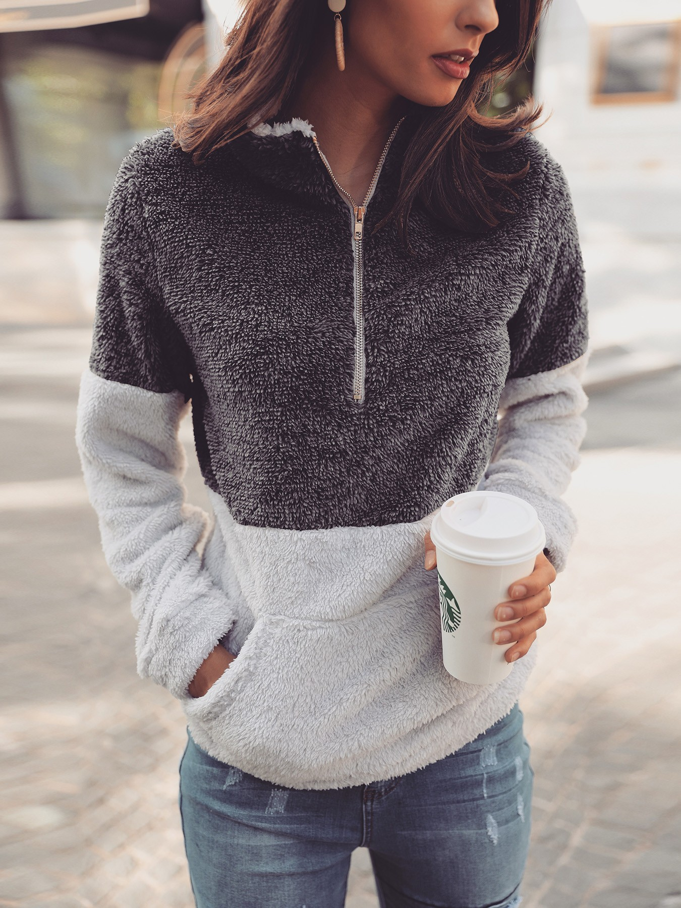 boutiquefeel / Contrast Color Quarter Zip Teddy Sweatshirt