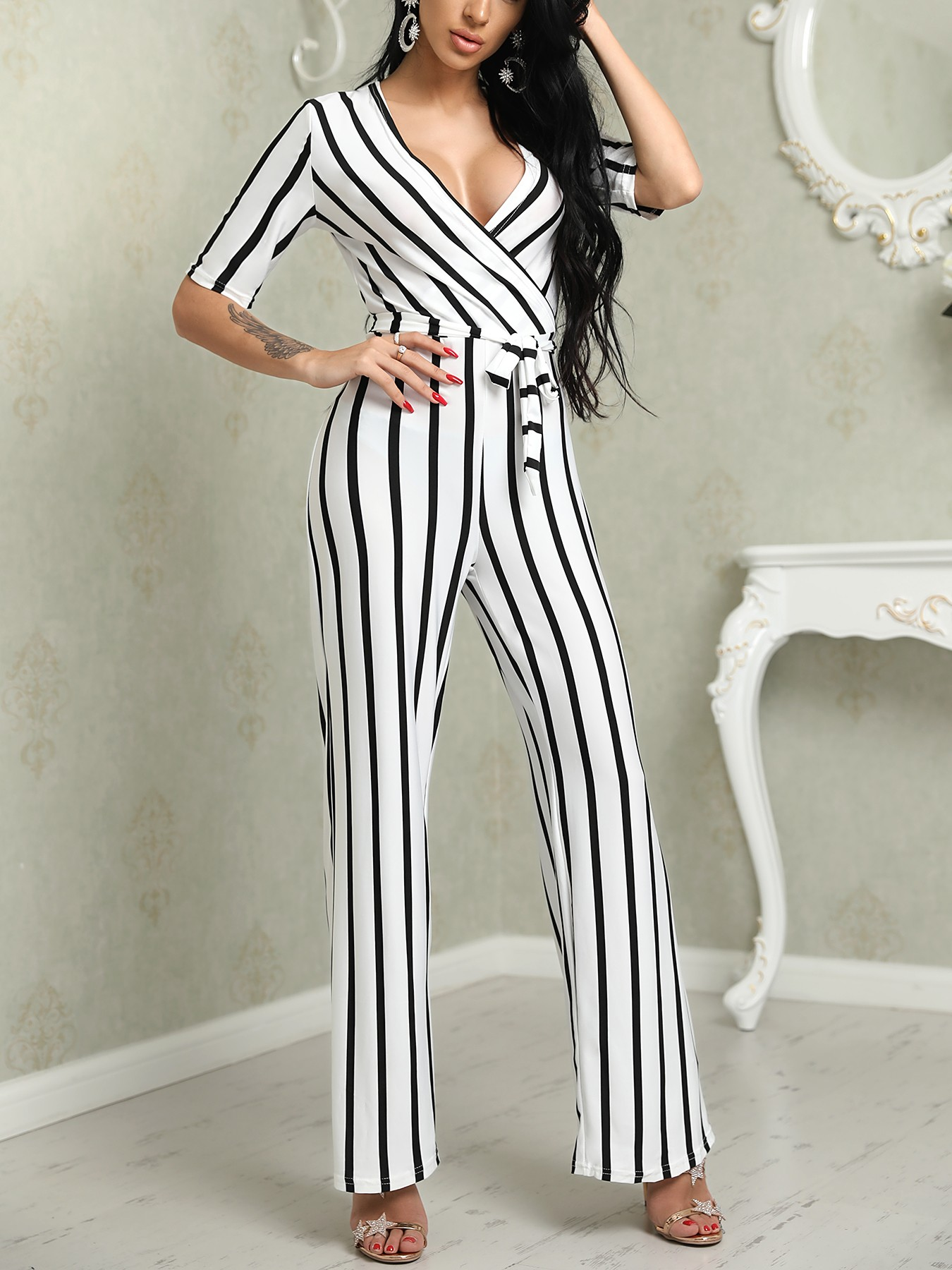 19485f045b4 Deep V Striped Waist Belted Wide Leg Jumpsuit