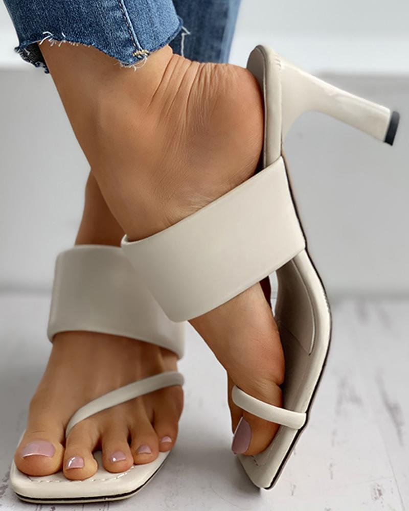 Square Toe Post Heel Mule Sandals thumbnail