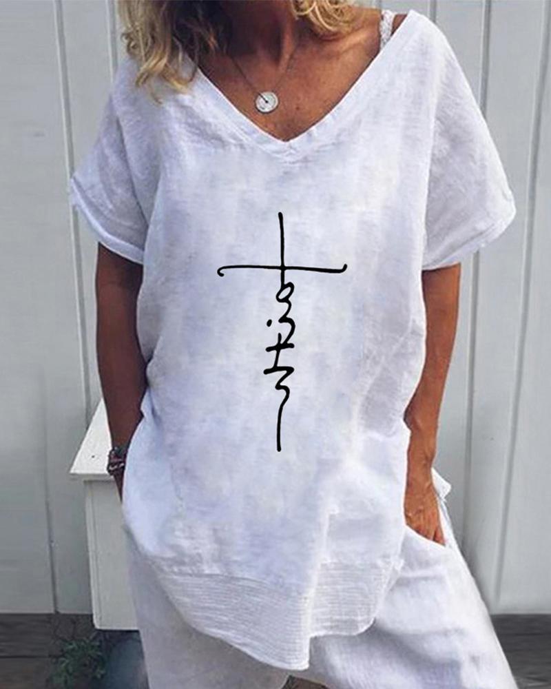 Handwriting V Neck T-Shirt thumbnail