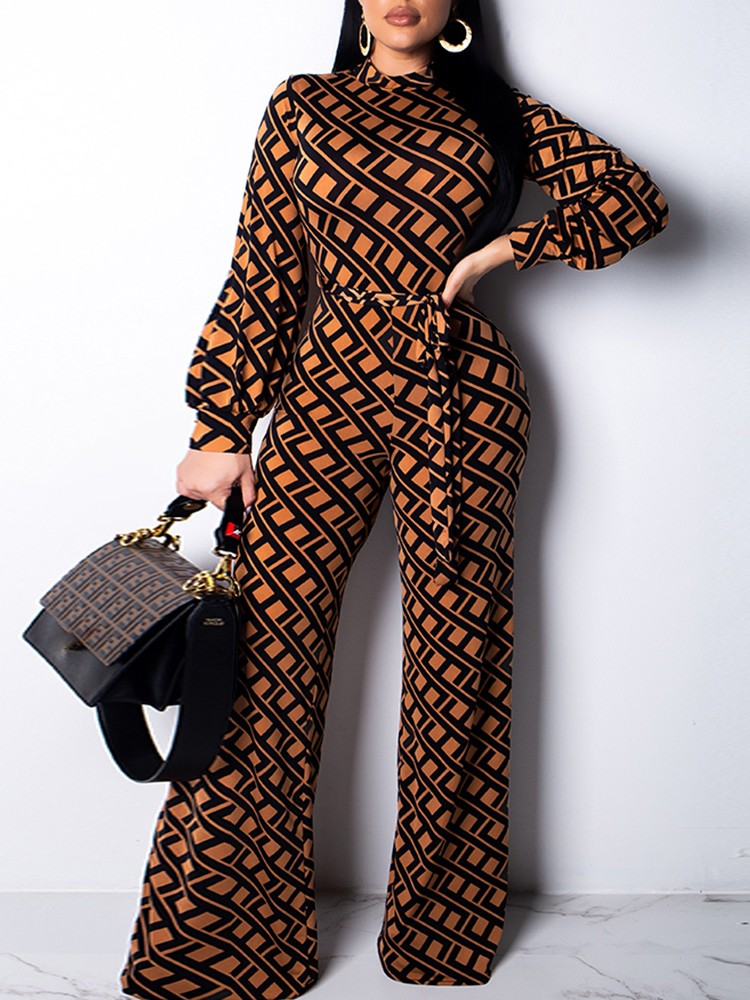 Geo Print Long Sleeve Belted Jumpsuits