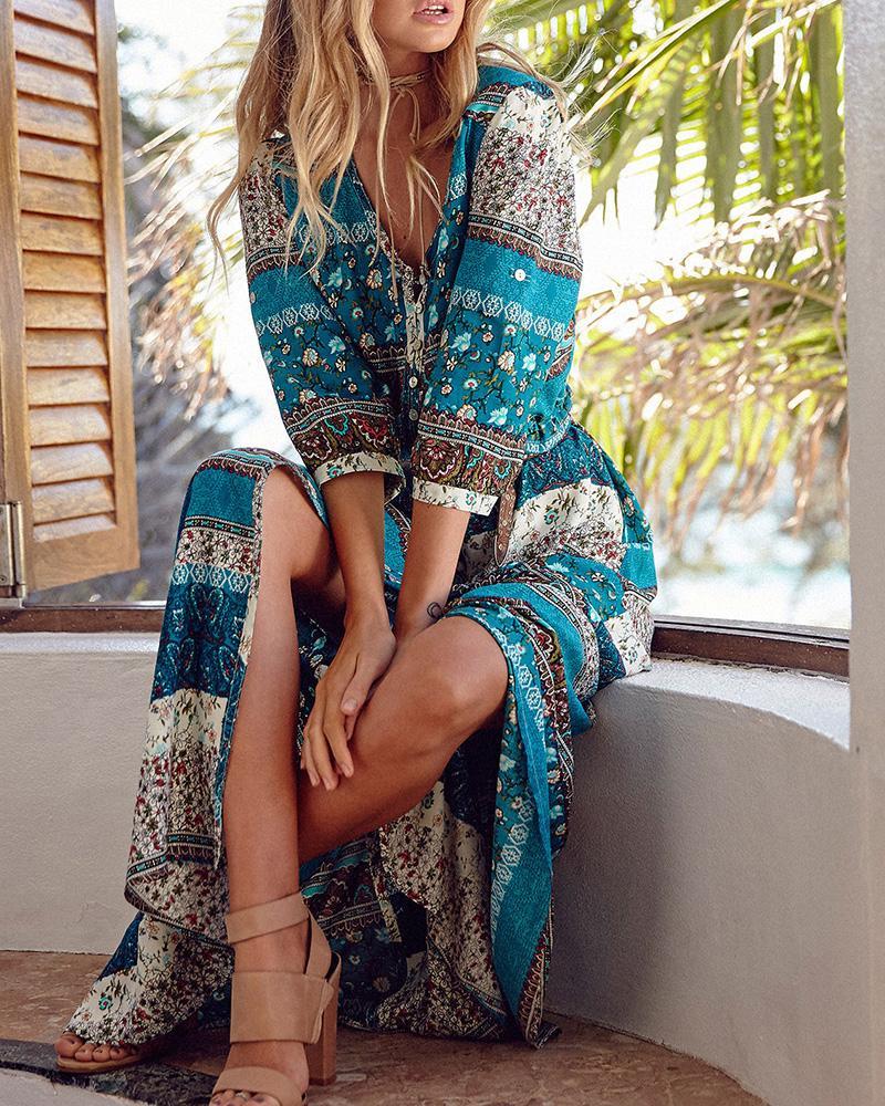 All Over Print Boho Long Sleeve High Slit Maxi Dress