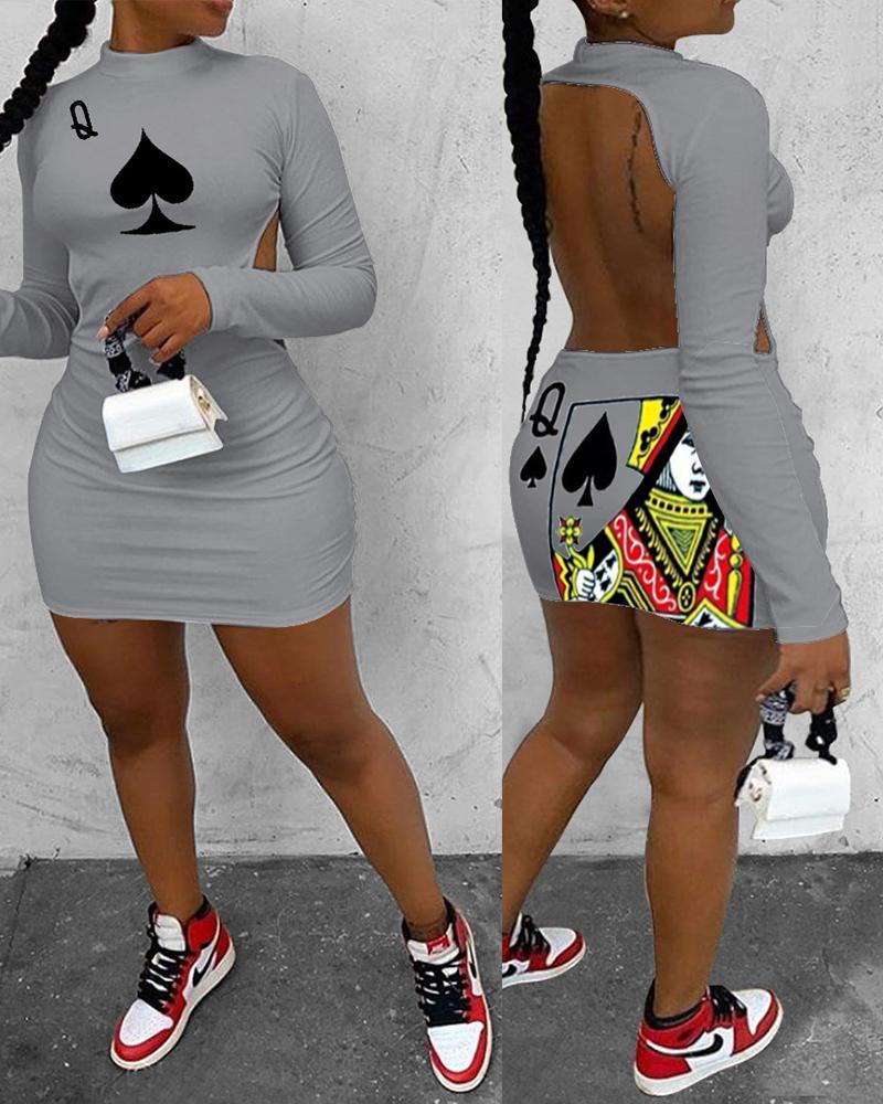Poker Print Backless Bodycon Dress thumbnail
