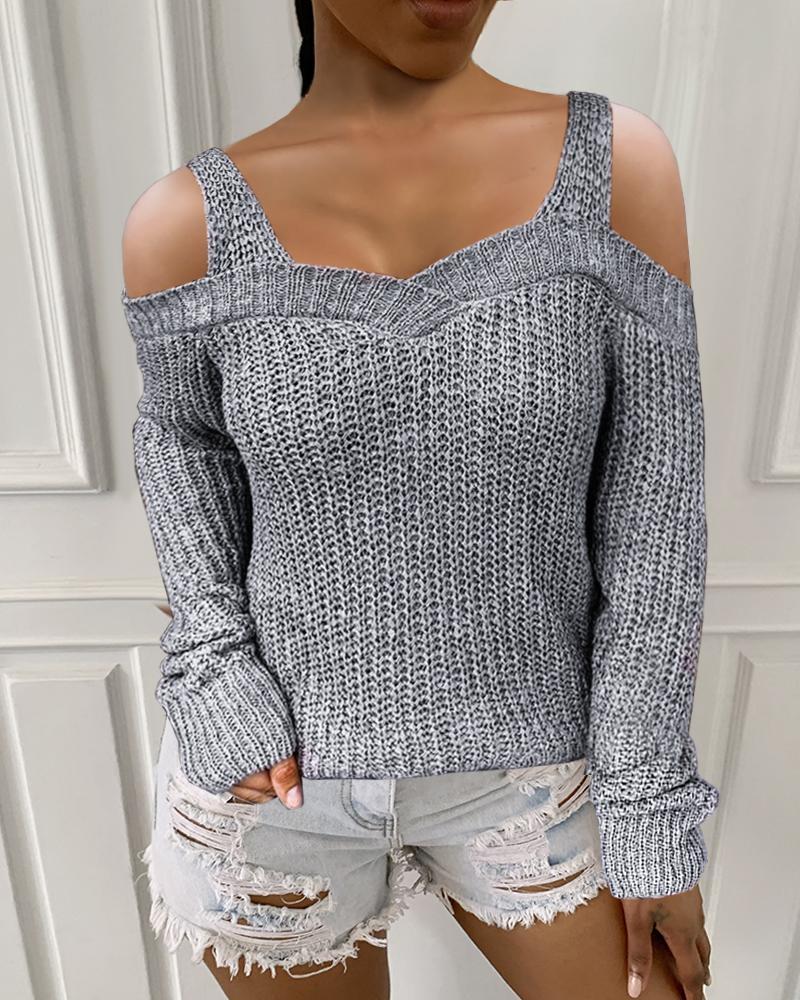 Plain Long Sleeve Cold Shoulder Sweater, Light gray