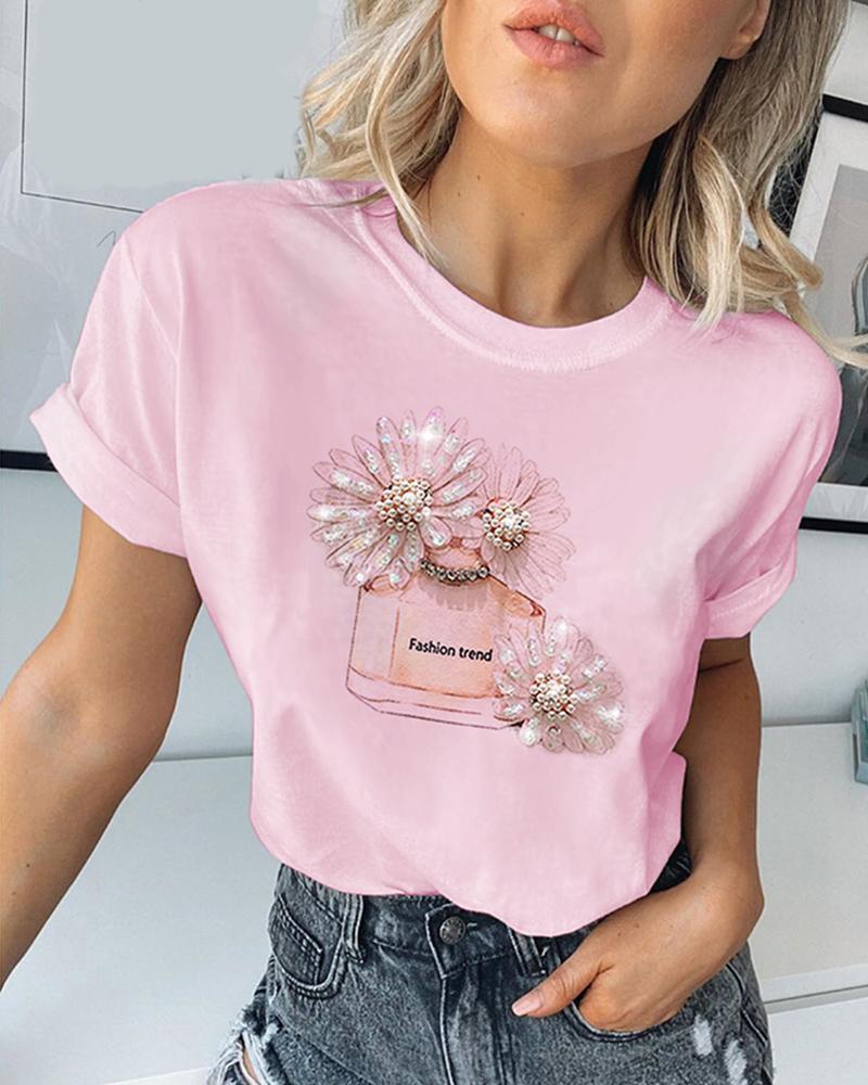 Print Studded Beaded Casual T-shirt thumbnail