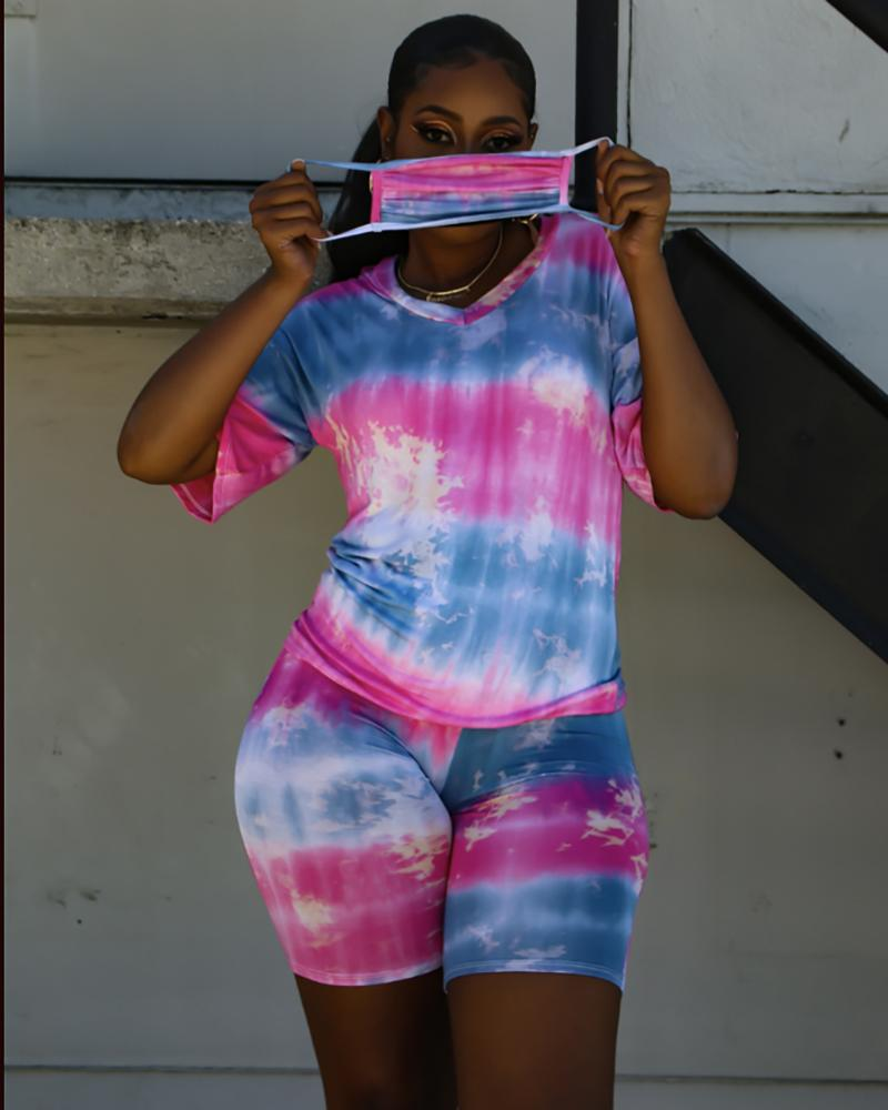 Tie Dye Print V-neck Top & Shorts Set With Face Cover thumbnail