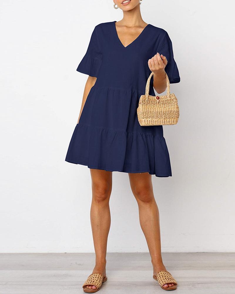 Plain V Neck Ruffle Hem Dress, Blue