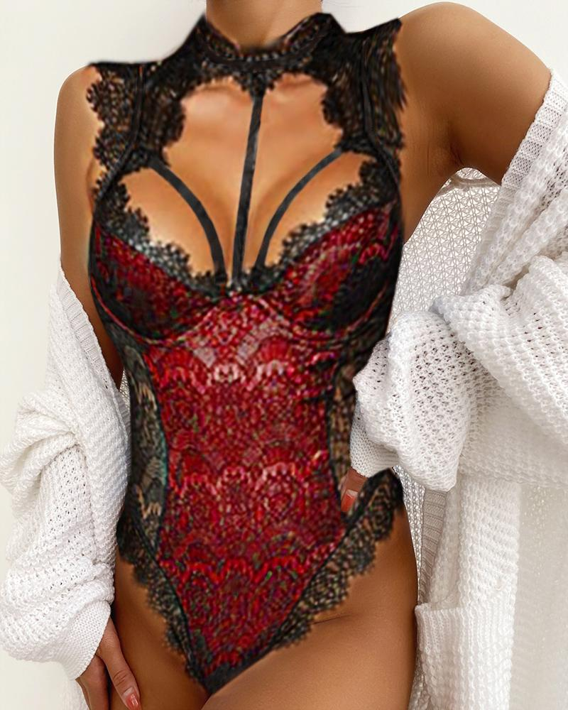 1d873f16de Alluring Lace Mesh Padded Lingerie Bodysuit Online. Discover hottest trend  fashion at chicme.com