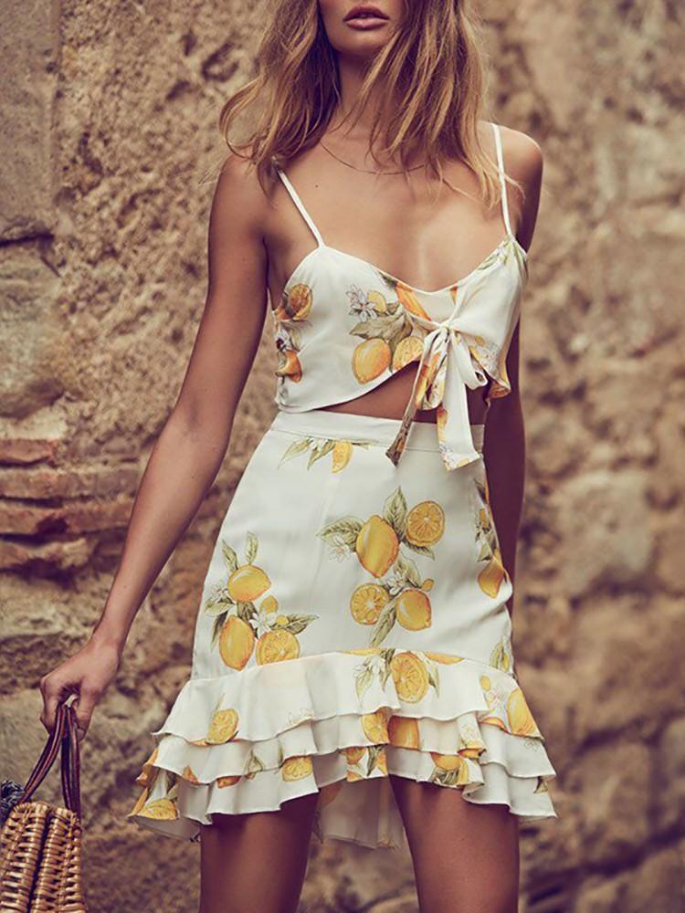 Sexy Ruffled Lemon Cropped Skirt Sets
