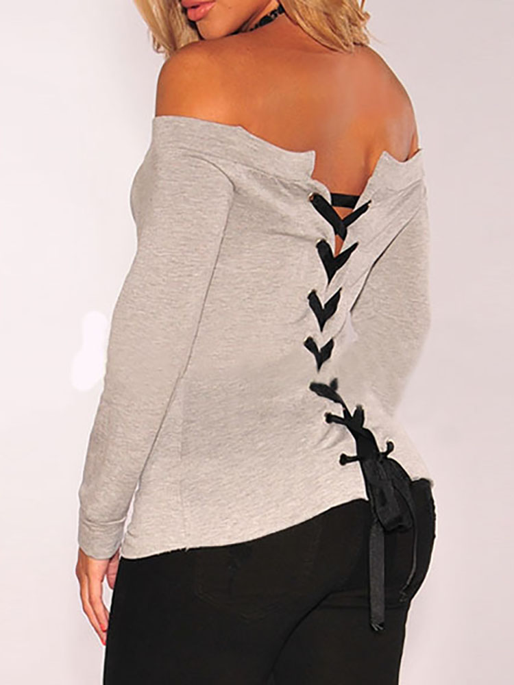 Off Shoulder Lace-up Back Casual Blouse