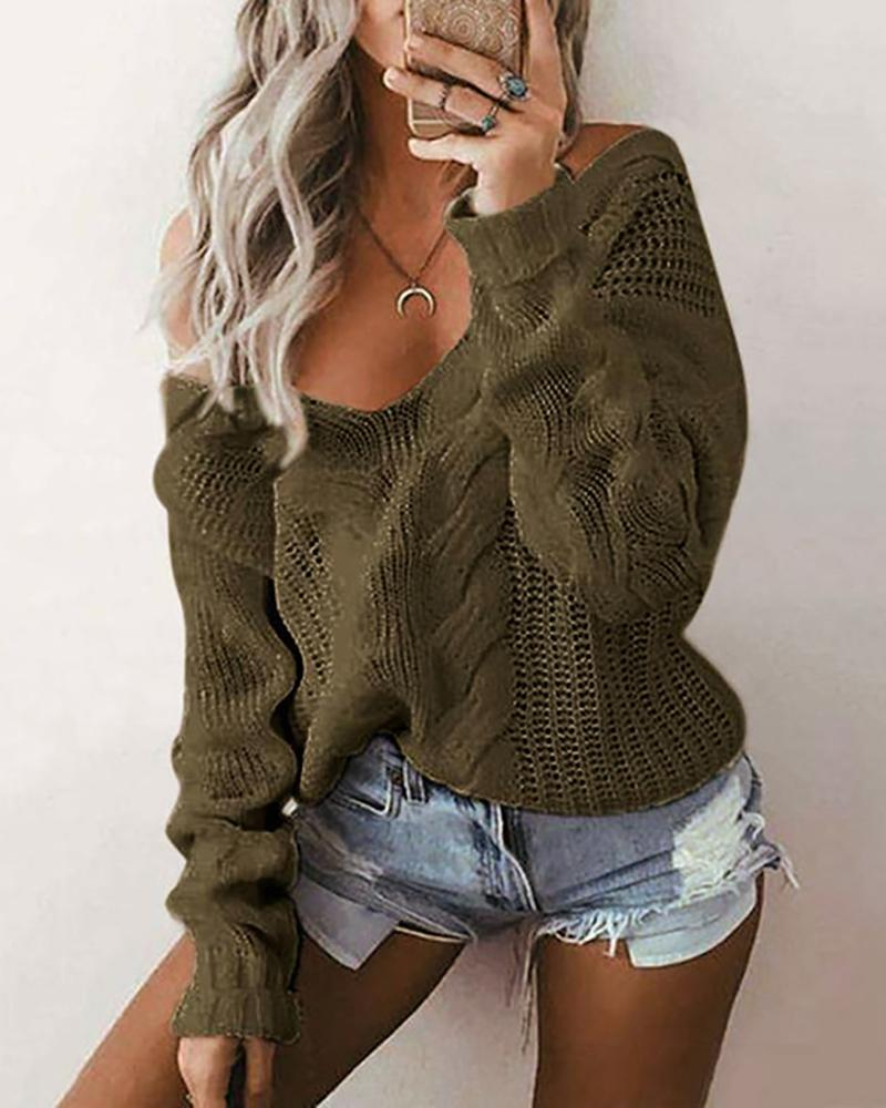 Solid Long Sleeve Knit Casual Sweater thumbnail