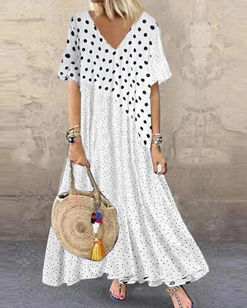 Patchwork Polka Dot Short Sleeve Maxi Dress, boutiquefeel, white  - buy with discount