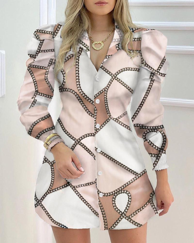 ivrose / Chain Print Puffed Sleeve Women Shirt Dress