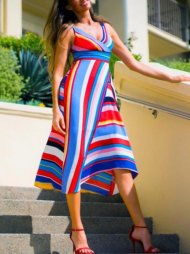 Colorful Striped Sleeveless Casual Dress