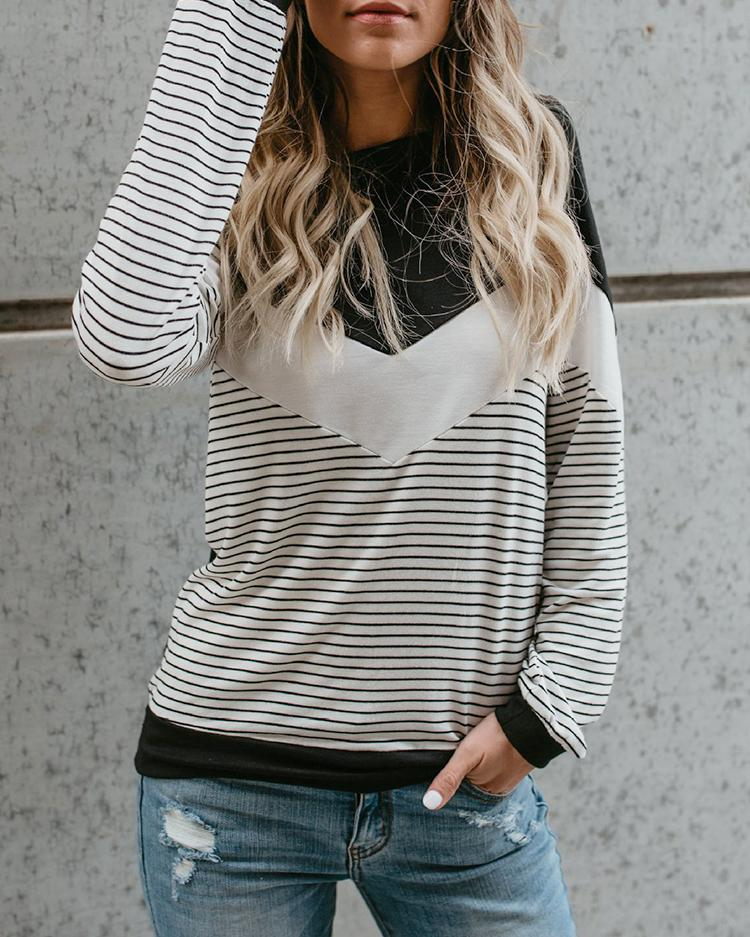 Joyshoetique coupon: Stripes Color Block Casual T-shirt
