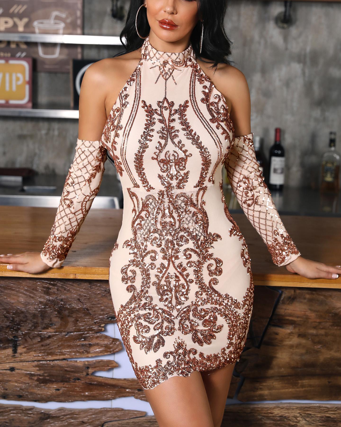 bdeacb190c25 Cold Shoulder Sequin Party Dress Online. Discover hottest trend ...