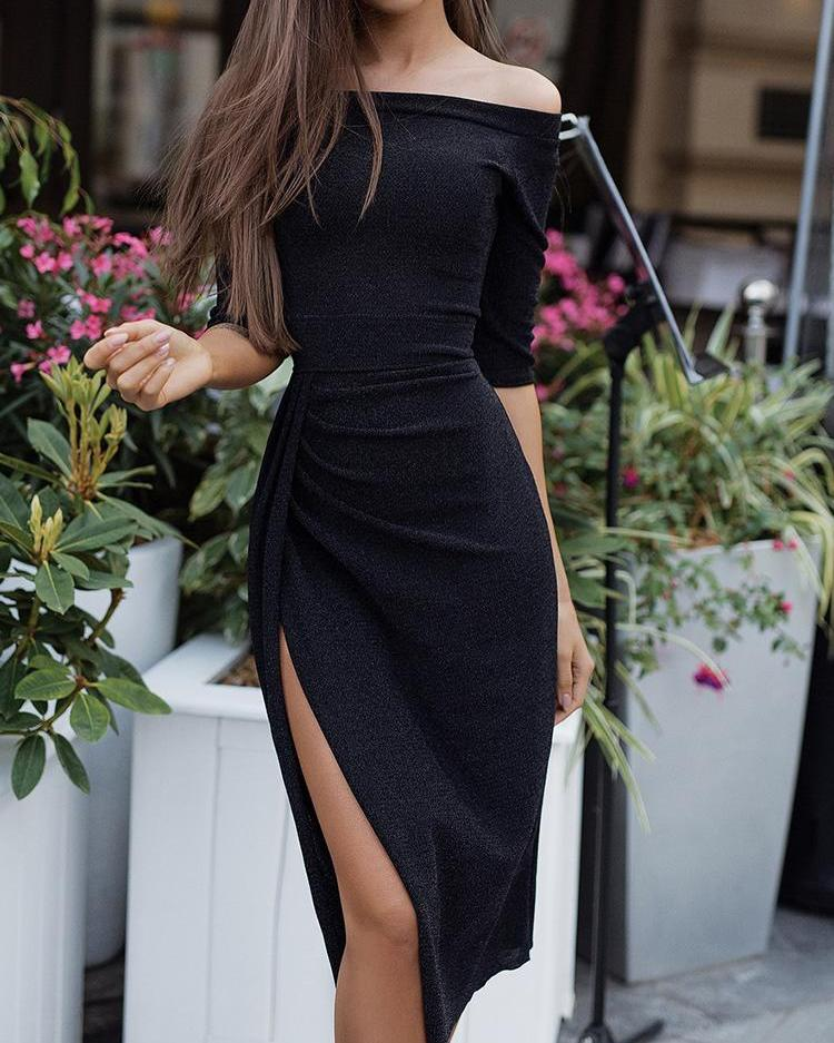 2bcb569b67a37 Solid Color One Shoulder Ruched Bodycon Dress in 2018