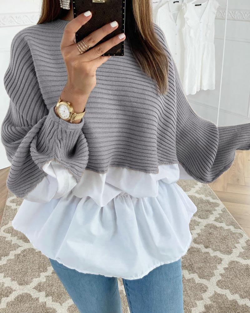 ivrose / Colorblock Insert Ruffles Ribbed Batwing Sleeve Women Blouse