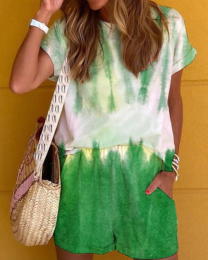 Tie Dye Short Sleeve Loose T-shirt With Shorts Suit Sets, boutiquefeel, green  - buy with discount