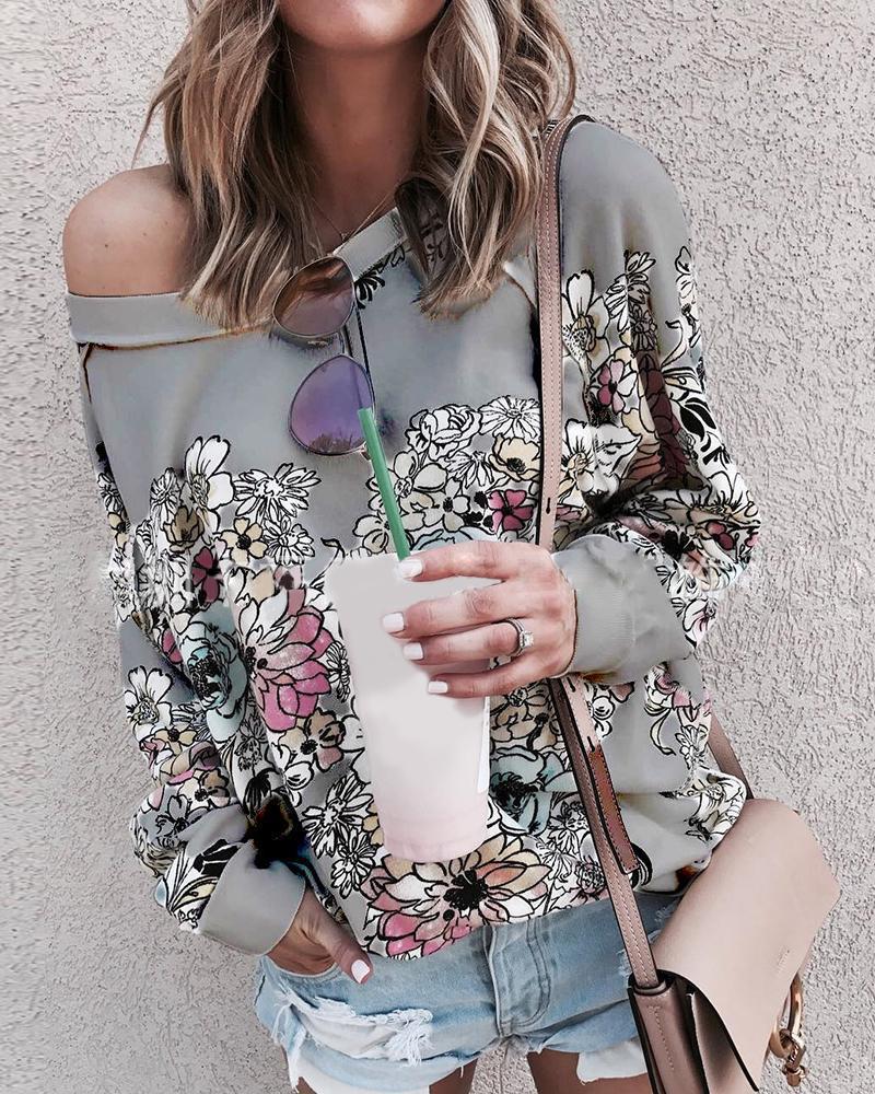 Floral Print Long Sleeve Casual Top thumbnail