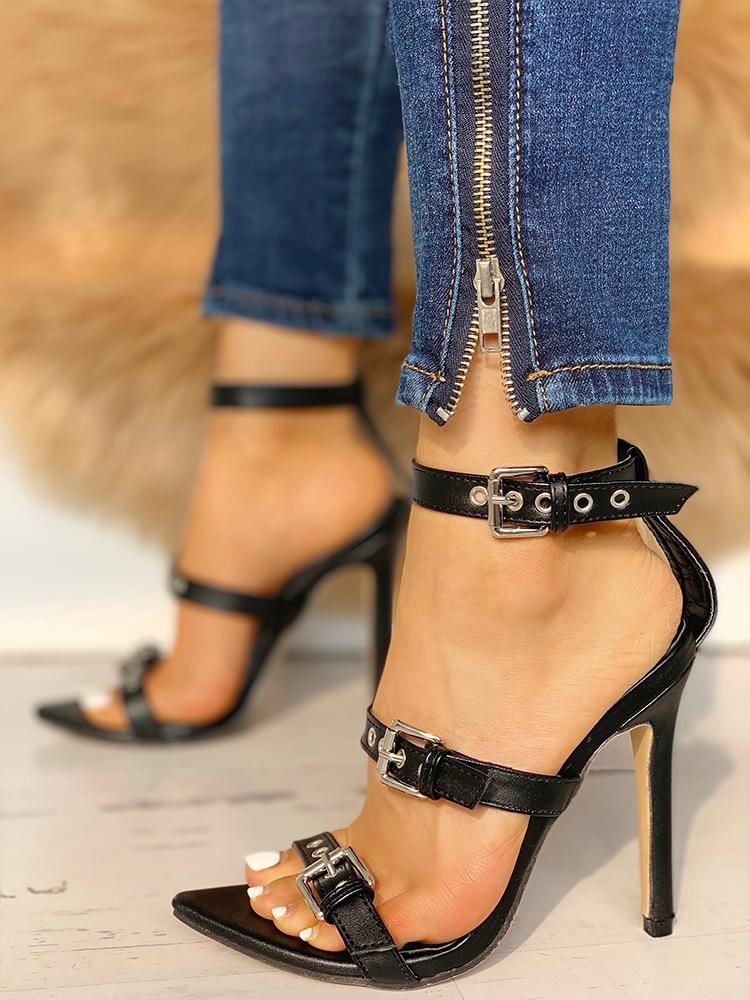 boutiquefeel / Multi Buckled Thin Heeled Sandals