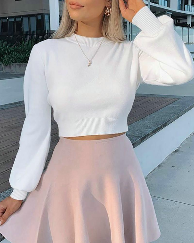 Solid Long Sleeve Casual Top thumbnail