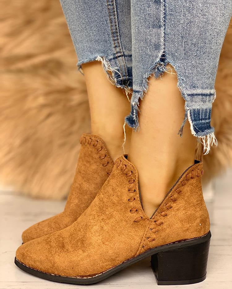 Suede V-Cut Point Toe Ankle Boots