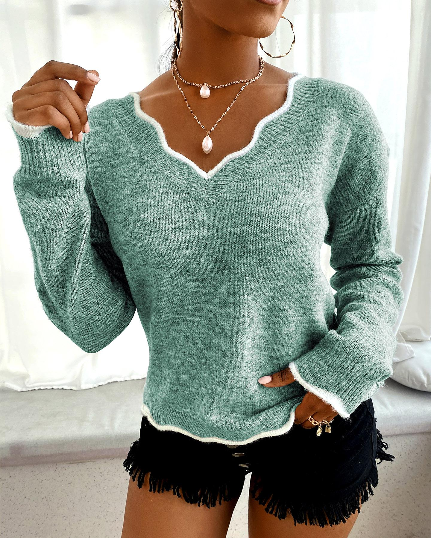 Brief Cozy V-neck Knit Sweater thumbnail