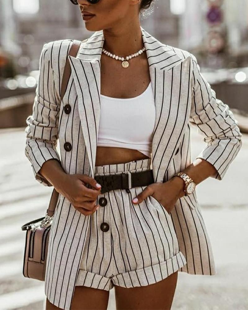 Fashionable Striped Commuter Suit Sets