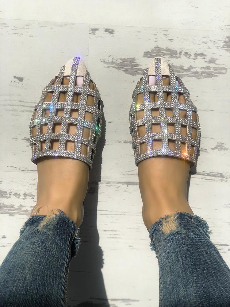 boutiquefeel / Glittering Hollow Out Pointed Toe Flat Sandals